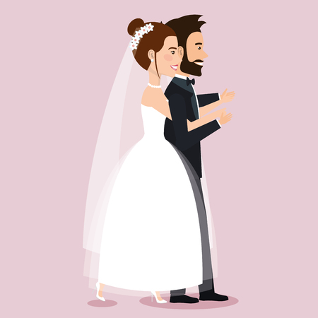 wedding couple walking together in love vector illustration