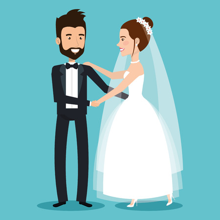 wedding couple: character bride and groom newlyweds holding hands vector illustration Illustration