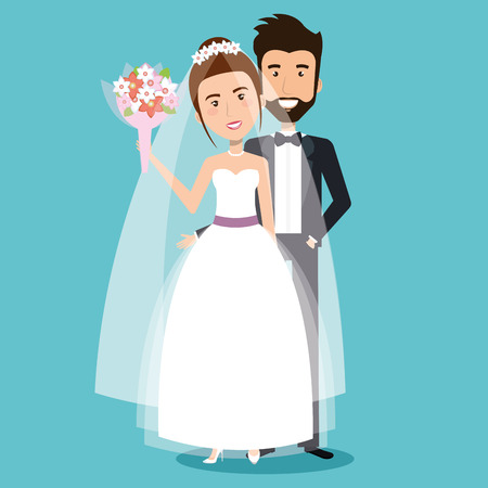 wedding couple: beautiful young bride and groom couple holding hands on wedding day vector illustration Illustration