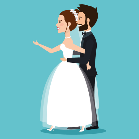 character bride and groom newlyweds holding hands vector illustration Illustration