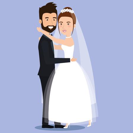 かわいい若いカップルの結婚式の日に優しく一緒にポーズを抱き締めるベクトル イラスト