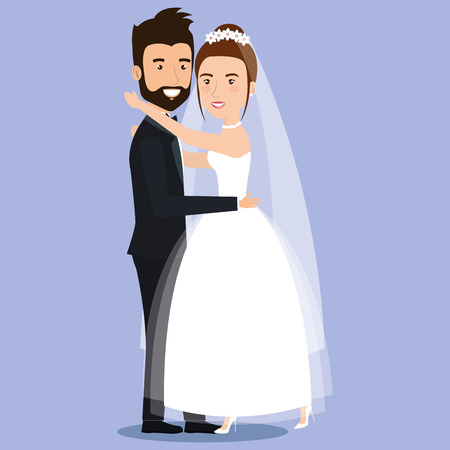 cute young couple hugging tenderly together posing on their wedding day vector illustration Фото со стока - 83854096