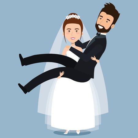 ちょうど結婚されていたカップルの花嫁は結婚式のベクトル図腕の中で新郎を運ぶ  イラスト・ベクター素材