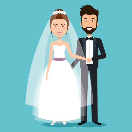 美しい若い新郎新婦のカップルを結婚式の日に手を繋いでいるベクトル イラスト