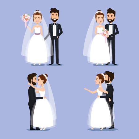 新郎新婦は結婚式のカップルのロマンチックなベクトル図を設定