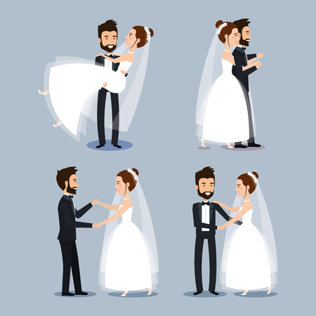 bride and groom set wedding couples romantic vector illustration Vettoriali