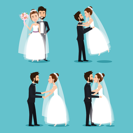 bride and groom set wedding couples romantic vector illustration Иллюстрация