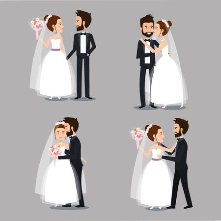 Braut und Bräutigam set Hochzeit Paare romantische Vektor-Illustration Standard-Bild - 83854095