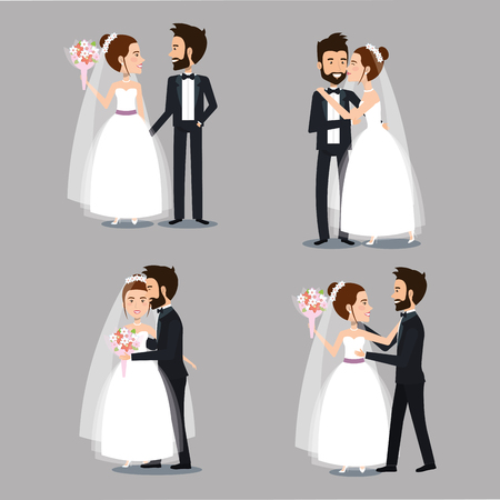 bride and groom set wedding couples romantic vector illustration Ilustração