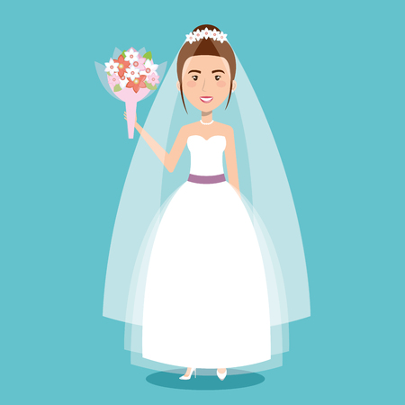 beautiful bride in a wedding dress and bouquet celebration vector illustration