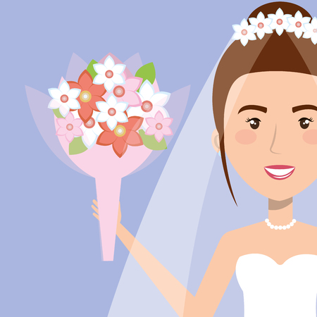 portrait bride with flowers with wedding dress vector illustration