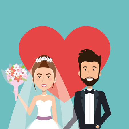 wedding ceremony bride and groom together with heart background vector illustration Illusztráció