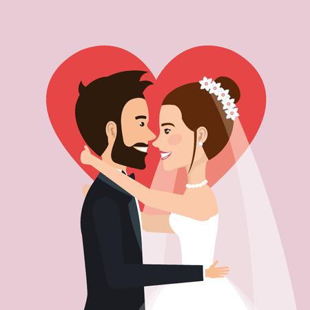 セレモニー ハート背景ベクトル イラストとともに新郎新婦の結婚式