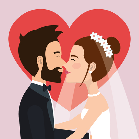 wedding ceremony bride and groom together with heart background vector illustration Иллюстрация