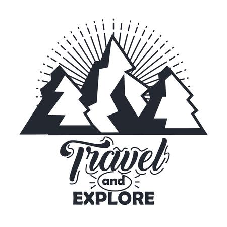 もっと旅行し、活版印刷の印刷ポスター ベクトル図をレタリング山ヴィンテージ手