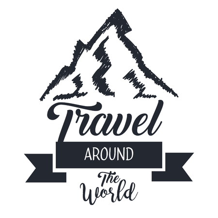 travel around the world card with hand drawn lettering phrase vector illustration