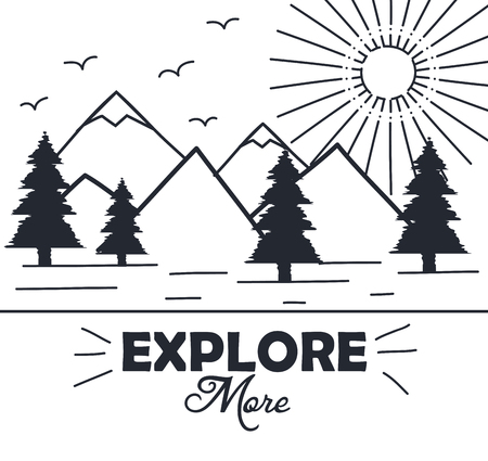 explore more hand drawn lettering poster with mountains trees sun inspirational poster vector illustration Illustration
