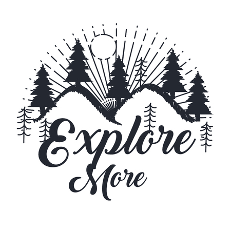 onderzoek meer hand getrokken belettering poster met bergen bomen zon inspirerende poster vectorillustratie Vector Illustratie