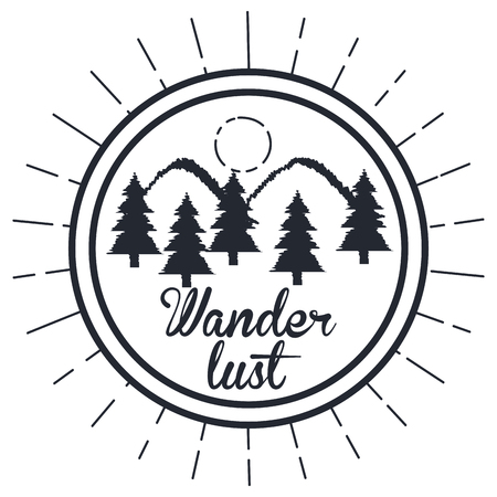 wanderlust hand getekend berg avontuur label natuur vectorillustratie