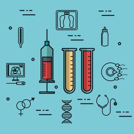Ilustración de vector de laboratorio jeringa médica y tubo de ensayo de sangre laboratorio Foto de archivo - 83864774
