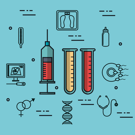 pregnancy medical syringe and test tube blood laboratory vector illustration Illustration