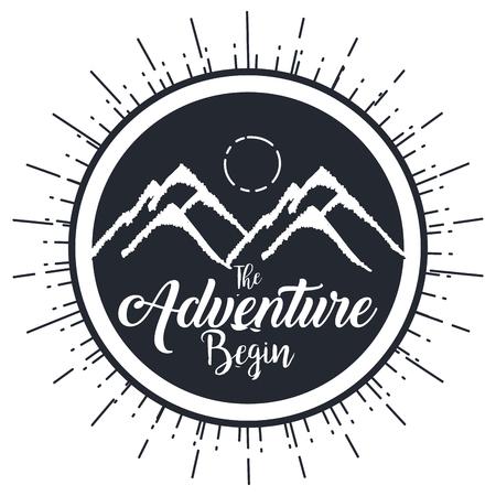 ビンテージ冒険ラベル デザイン野外活動シンボル ベクトル図  イラスト・ベクター素材