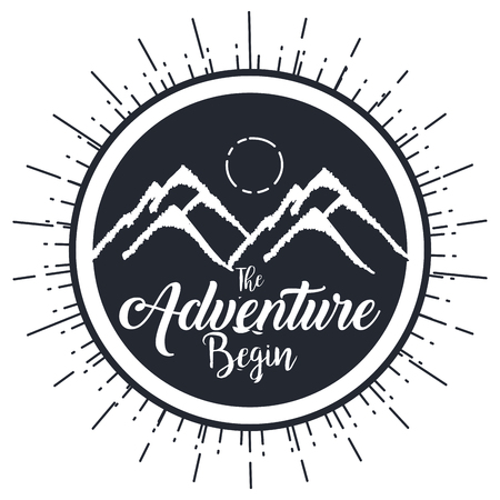 vintage adventure label design outdoor activity symbol vector illustration