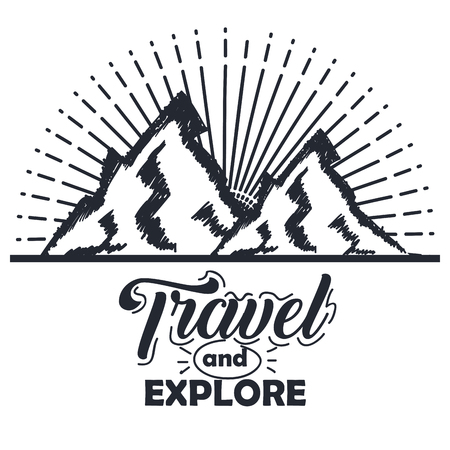 travel more and explore mountains vintage hand lettering typographic print poster vector illustration
