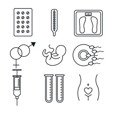 Grossesse maternité équipement médical éléments santé soin vecteur Illustration Banque d'images - 83864716