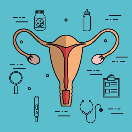 baarmoeder bevruchting zwangerschap set verzameling medische iconen vector illustratie Stock Illustratie