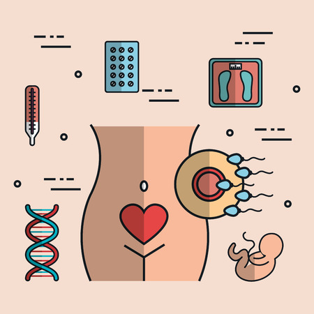 Human pregnancy with medicine treatment to care the body illustration.