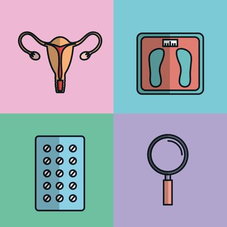 妊娠出産医療機器要素医療イラスト。