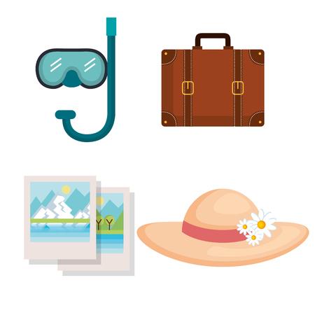vakantie reizen set apparatuur klaar voor avontuur concept vector illustratie