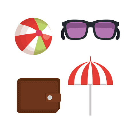 vacation travel set equipment ready for adventure concept vector illustration Illustration