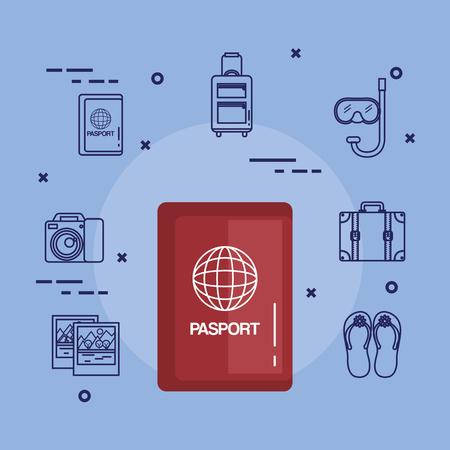 Vacaciones relacionadas pasaporte documento identificación viaje vector ilustración Foto de archivo - 83870411