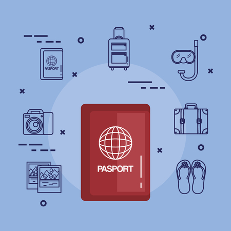 vakanties gerelateerd paspoort document id reizen vectorillustratie Stock Illustratie
