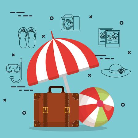 koffer en accessoires reizen vakanties concept vectorillustratie Stock Illustratie