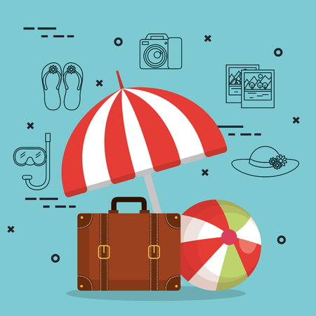 suitcase and accessories travel vacations concept vector illustration