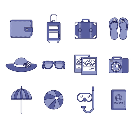 vacation travel set equipment ready for adventure concept vector illustration Illustration