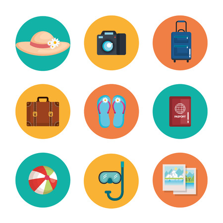 休暇旅行冒険概念ベクトル図のセット機器の準備  イラスト・ベクター素材