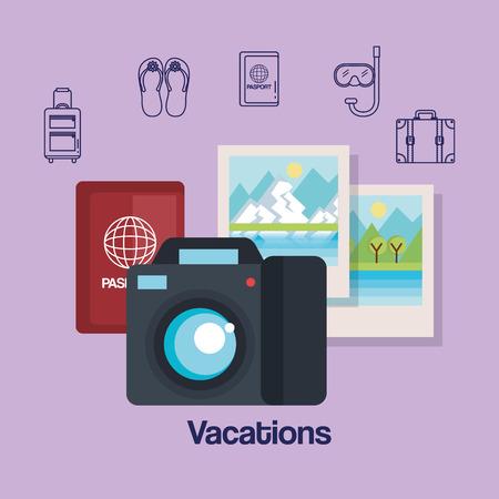 vacations travel relax enjoy tourism destination vector illustration Ilustrace