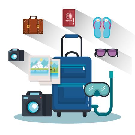 車輪のベクトル図のハンドルに休暇旅行バッグ