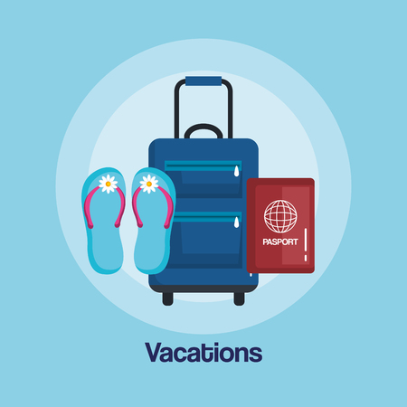 車輪ベクトルイラストのハンドルを持つ休暇旅行バッグ