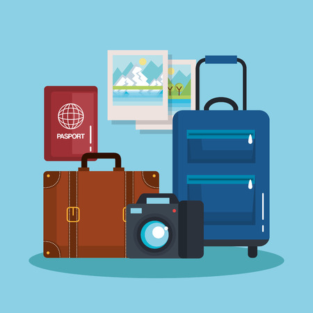 vacation travel set equipment ready for adventure concept vector illustration Imagens - 83870392