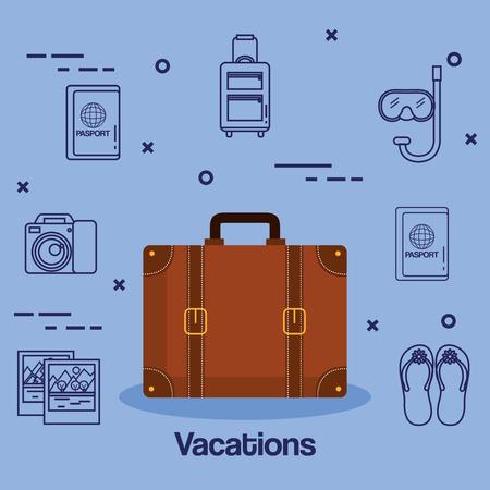 スーツケースやアクセサリー旅行休暇の概念ベクトル図