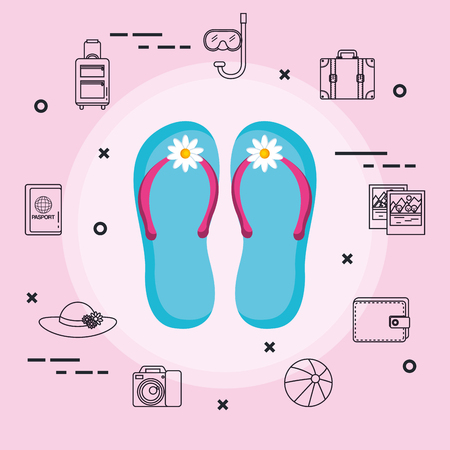 vacations travel relax enjoy tourism destination vector illustration Иллюстрация