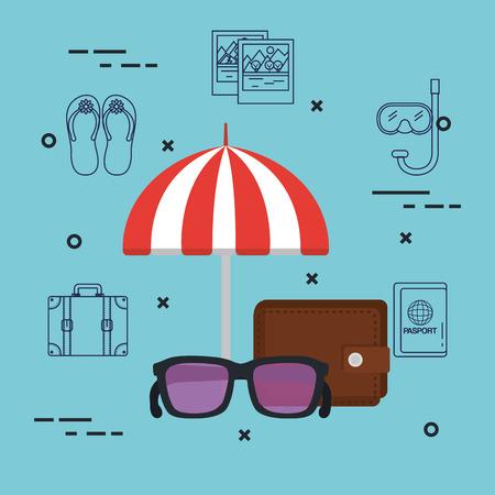 vacations travel relax enjoy tourism destination vector illustration Ilustração