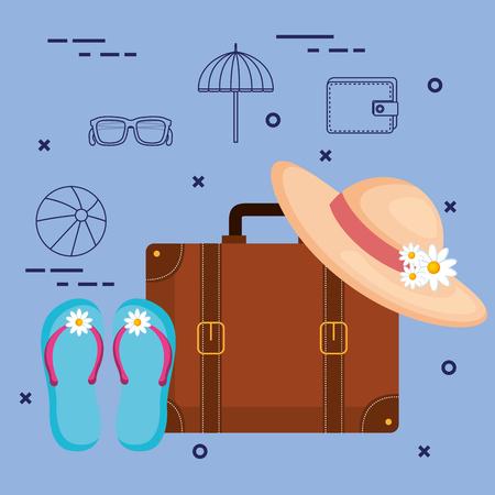 Valise et accessoires voyage vacances concept illustration vectorielle Banque d'images - 83870413