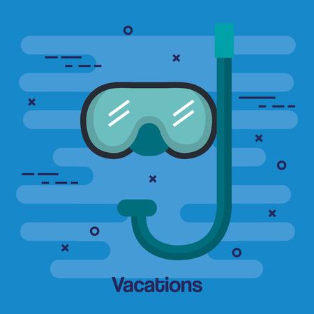 休暇のスキューバ ダイビングのマスクとシュノーケル青の背景ベクトル図に分離
