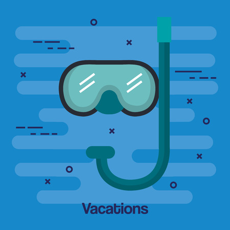 vacations scuba mask and snorkel isolated on blue background vector illustration Banco de Imagens - 83870414